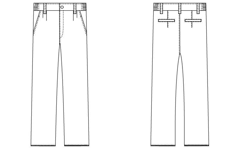 自重堂WHISEL WH10416 メンズツータックパンツ 股下フリー(男性用) ハンガーイラスト・線画