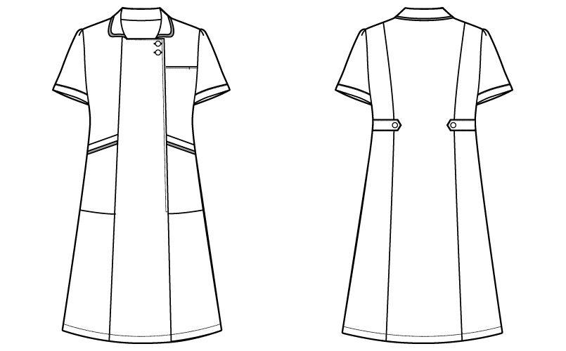 自重堂WHISEL WH11200 ワンピース ゆったりスクエア襟 パイピング(女性用) ハンガーイラスト・線画