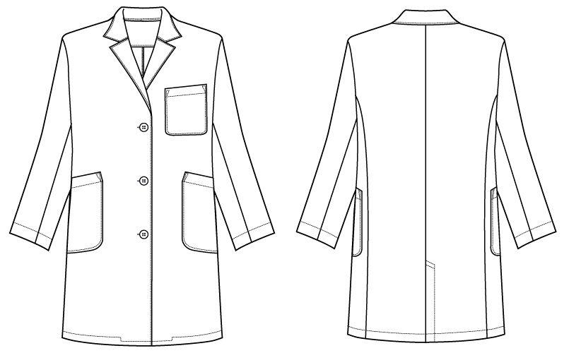 自重堂WHISEL WH11503 レディースシングルハーフコート(女性用) ハンガーイラスト・線画