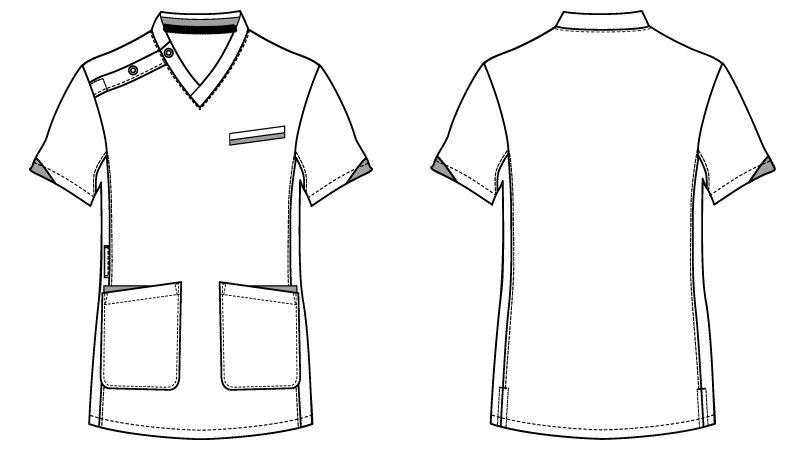 WH11985 自重堂WHISELスクラブ(男女兼用)袖口配色 ハンガーイラスト・線画