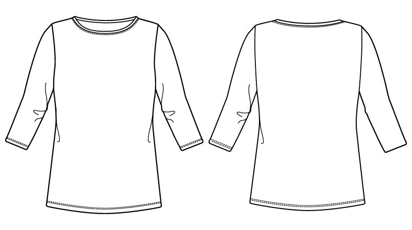 自重堂WHISEL WH90129 七分袖起毛インナーTシャツ ハンガーイラスト・線画