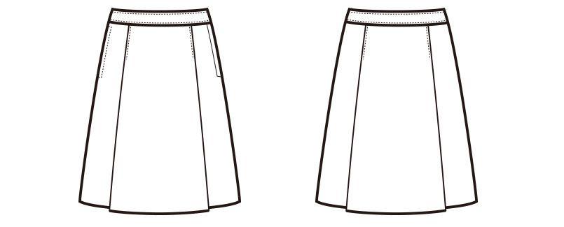 en joie(アンジョア) 51372 伸縮性があり心地よいフィット感のプリーツスカート 無地 ハンガーイラスト・線画