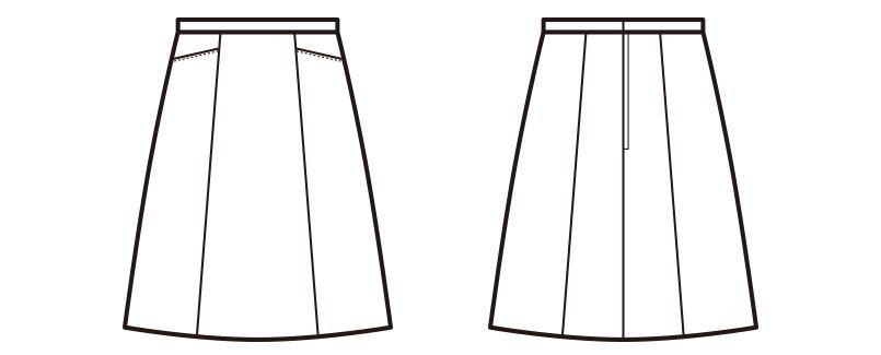 en joie(アンジョア) 51453 [通年]ストレッチ+シワになりにくいAラインスカート 無地 ハンガーイラスト・線画