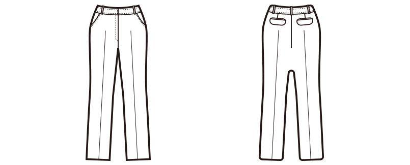 [在庫限り/返品交換不可]en joie(アンジョア) 71492 細めシルエットのラベンダーストライプパンツ ハンガーイラスト・線画