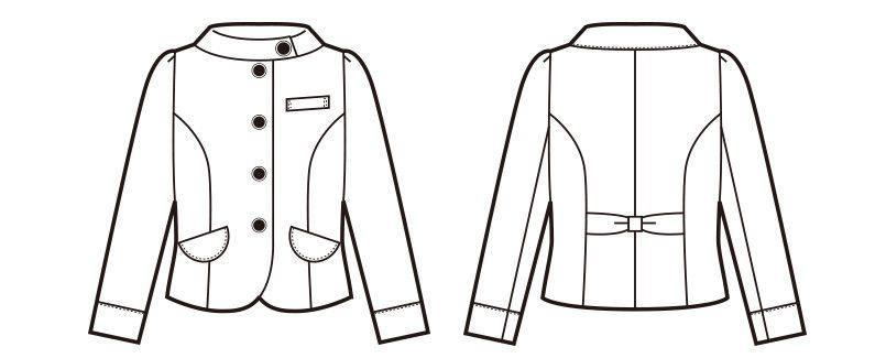 en joie(アンジョア) 81610 [通年]明るいチェックを襟やポケットのブラックでひきしめたジャケット チェック ハンガーイラスト・線画