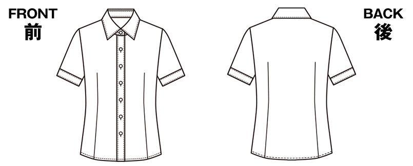 ESB494 enjoy 肌に優しいソフトタッチで透けにくく1枚着でも安心な半袖シャツブラウス ハンガーイラスト・線画