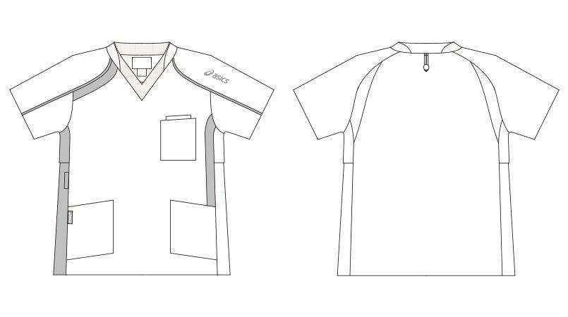 CHM301-0109 アシックス(asics) ニットスクラブ 半袖ジャケット(男女兼用) ハンガーイラスト・線画