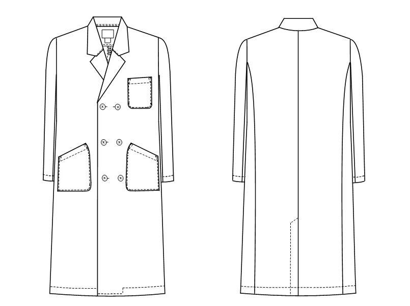 KEX5100 ナガイレーベン(nagaileben) ケックスター ダブル診察衣長袖(男性用) ハンガーイラスト・線画