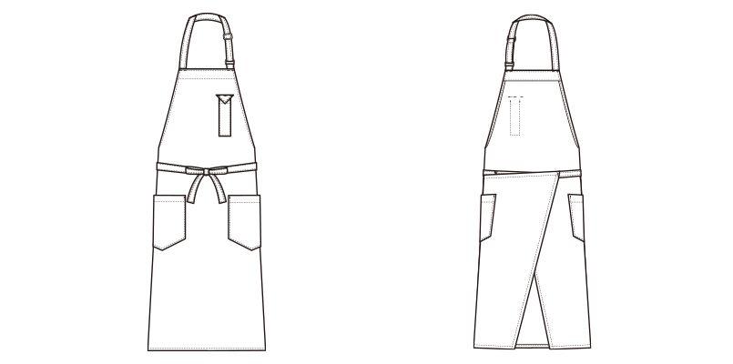 CT2362 セブンユニフォーム 胸当てミドルエプロン(男女兼用) ハンガーイラスト・線画